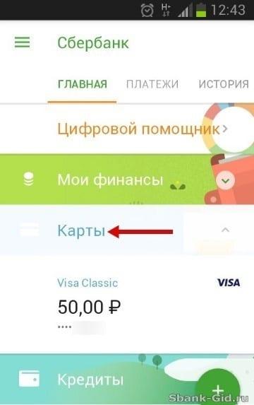 Категория «Реквизиты карты» в мобильном приложении Сбербанка