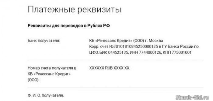 Платежные реквизиты для переводов в рублях РФ в Сбербанке