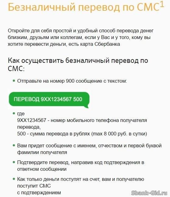 Безналичный перевод по СМС Сбербанк