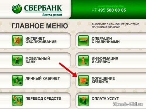Погашения кредита через терминал Сбербанка