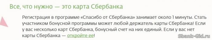 Регистрация в программе Спасибо от Сбербанка