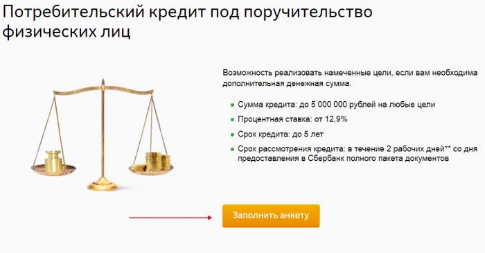 Анкета на получение кредита на сайте Сбербанка