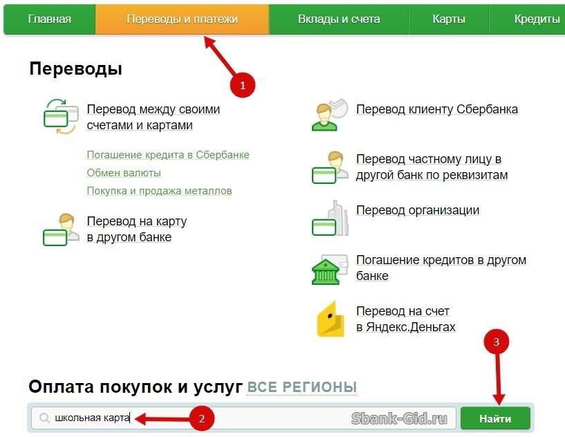 Как положить деньги на карту школьника для питания через сбербанк онлайн