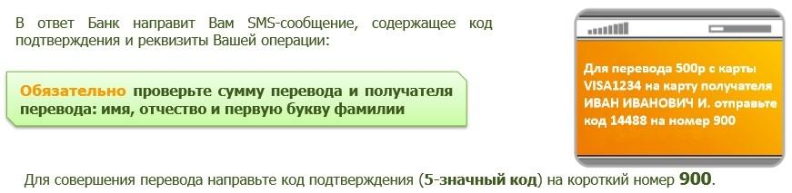 Завершение денежного перевода с карты на карту по СМС Сбербанк